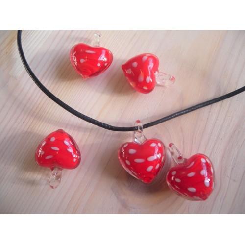 Pendentif  Saint Valentin : coeur à pois