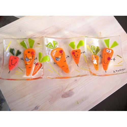 """Plat  apéro 3 compartiments  """"Vive les carottes!"""""""